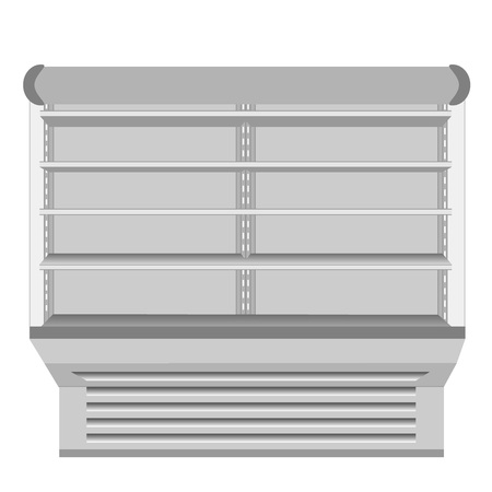 cooled: Cooled Regal Rack Refrigerator Wall Cabinet Blank Empty Showcase Displays. Retail Shelves. 3D Products On White Background Isolated. Mock Up Ready For Your Design Illustration