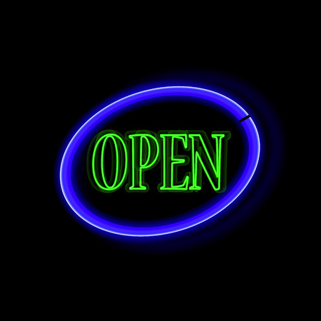 insoles: Neon frame Open. Vintage electric sign board with bright neon lights. Vector illustration