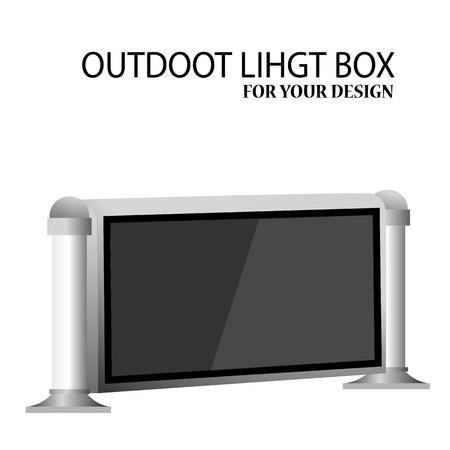 lightbox: LCD displays. Outdoor light box advertising stand banner. Vector illustration Illustration
