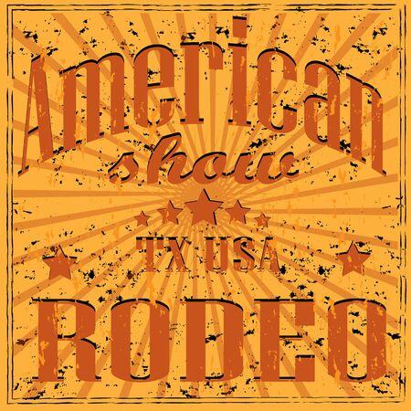 rodeo americano: fondo del rodeo americano retro. Ilustración del vector EPS 10