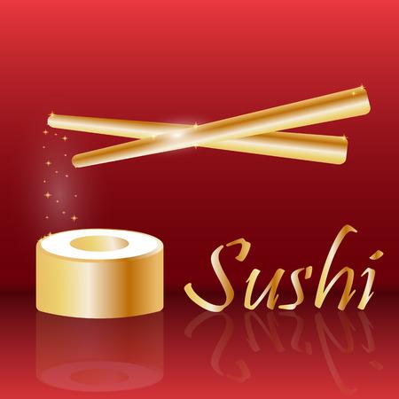 roll bar: Gold sushi with gold chopsticks. Gold sushi roll. Design for sushi restaurant. Design for sushi bar. Design for sushi menu. Vector illustration.