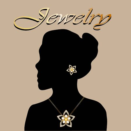 Silhouette of beautiful woman with jewelry flowers. Jewelry vector. Jewelry picture. Jewelry background. Jewelry woman.