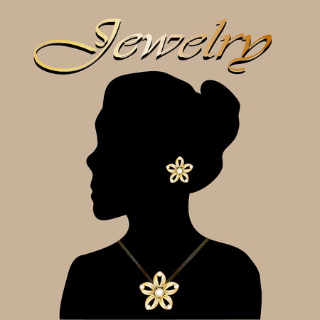 jewelry vector: Silhouette of beautiful woman with jewelry flowers. Jewelry vector. Jewelry picture. Jewelry background. Jewelry woman.