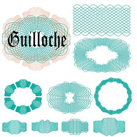 Set Guilloche elementen. Penseel om guilloche elementen te maken. Elementen klaar voor gebruik. Vector illustratie. Vector Illustratie