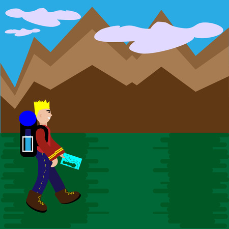 people traveling: People Traveling With Backpack Hiking. Flat Style Vector Illustration