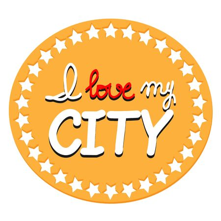 title emotions: Retro frame with stars. Vector hand lettering poster. I love my city with hand-lettering. Vector illustration