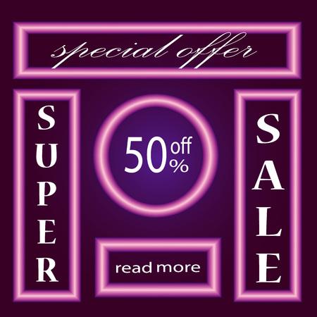 stock price quote: Neon Sale Banner. Illustration