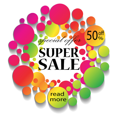 stock price quote: Colorful Sale Banner with text.