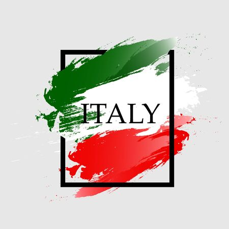 Watercolor frame of Italy color. Vector illustration