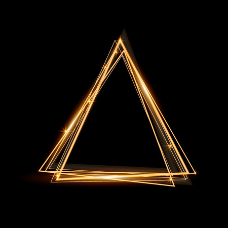 black borders: Gold triangle glowing frame. Abstract background. Jewelry triangle. Can use design element for your ad, sign, banner or poster. Element for your design. Vector illustration