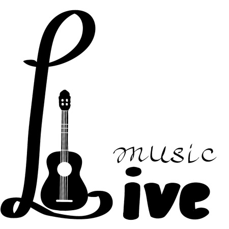 Live Music vector poster template. Can use for concert promotion in clubs, bars, pubs and public places. Poster with blank space for your text advertising message.