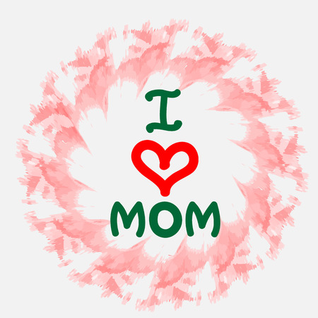 love mom: Watercolor flower. I love mom  hand draw letters. Vector illustration