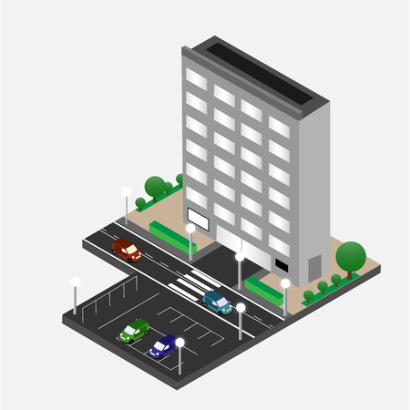 office building: Business Center Building. Office Center. Isomertic Vector. Isometric building. Vector illustration