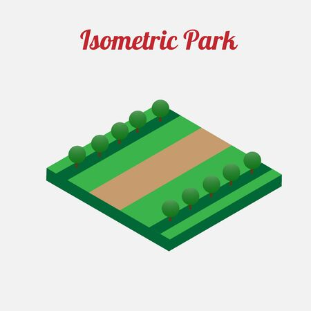 central park: City park furniture. City map elements. Isometric infographic. Isometric vector.