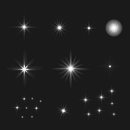 Conjunto de vector de brillantes estrellas de efecto de luz irrumpe con destellos sobre fondo negro. Estrellas de fondo.