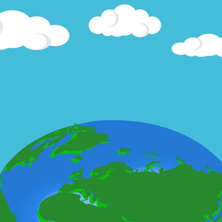 Vector pianeta terra. Flat planet Earth. Illustrazione vettoriale di design piatto. Sfondo di terra vettoriale con nuvole