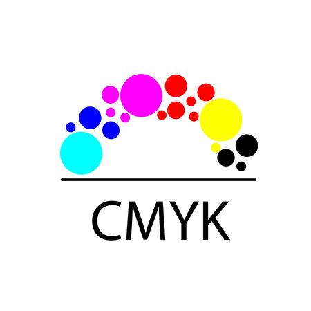 polygraphic: CMYK drawing logo concept. CMYK identity for print service business. Printing technology emblem. Polygraphic colors. Print service logo. Cmyk logo.  Vector Illustration