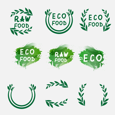 slow food: Hand draw logotypes set. Green logo, watercolor labels, plants elements. Organic logo. Hand drawing letters. Vector illustration Illustration