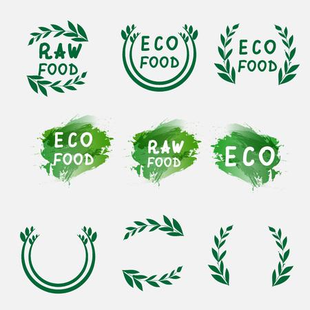 Bio, Bio, Ökologie Natürliche Logos-Elemente. Grün-Logo Abzeichen ...