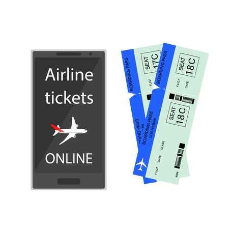 reservations: Airline tickets online. Buying or booking Airline tickets. Ticket reservations by phone. Online app for tickets order. Internation flights. Flat 3D isometric. Vector illustration.