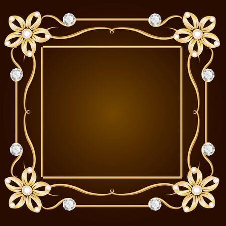 gold jewelry: Vintage gold jewelry background. Diamond frame. Golden frame.