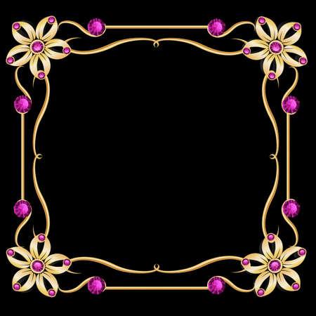 jewelry background: Vintage gold jewelry background. Diamond frame. Golden frame.