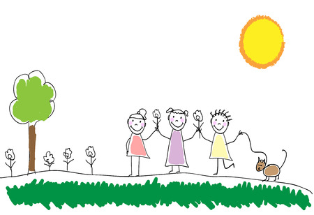 jardin de infantes: Children group of kids. Playing together outdoors in park. Doodle, hand drawn sketch, scribble. Children background for cards, books, posters.Vector illustration Vectores