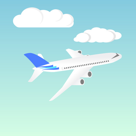 airliner: Passenger Airplane. Passenger Airliner. Airplane freight. Aircraft isometric on blue sky background. Civil Aviation. Vector illustration Illustration