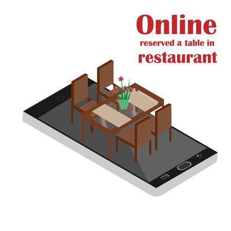 wedding table setting: Online reserved table in restaurant. Concept Reserved in cafe. Flat 3d design. Isometric illustration. Vector illustration. Illustration