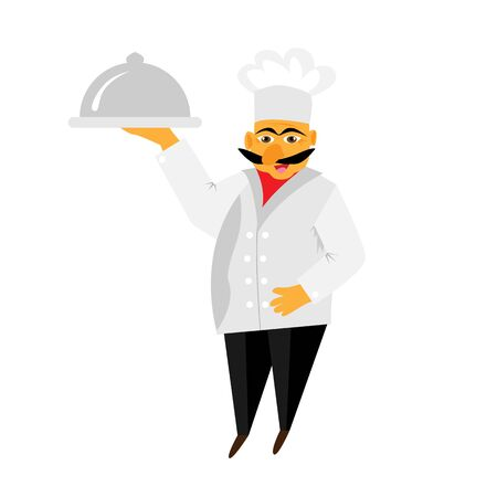 gourmet: Chef isolated no white background. Gourmet chef man. Vector illustration Illustration