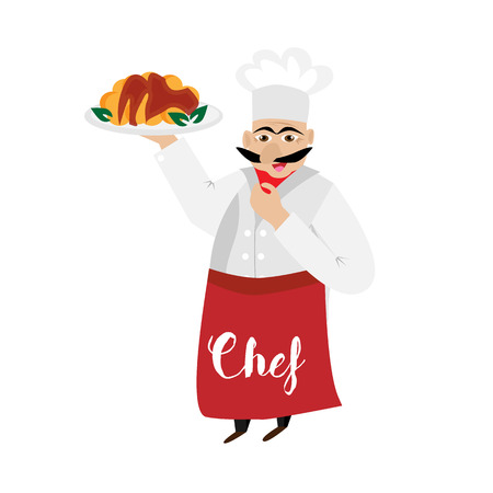 ooking: Chef isolated on white background. Gourmet chef man. ?ooking figure in red apron. Vector illustration. Illustration