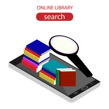 mobile device: Online library isometric concept with mobile device and books.