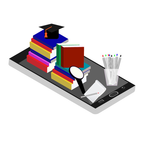 specialization: Online education isometric flat concept. Flat 3d isometric design. Online training courses, retraining, specialization, tutorials