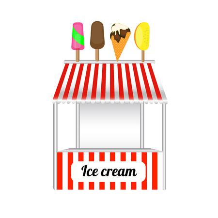 carretto gelati: Ice cream carrello dolci surgelati kioskca. Gelato arte deliziosa carrello e gelato carrello fresco negozio estate del dolce del fumetto cibo freddo. illustrazione