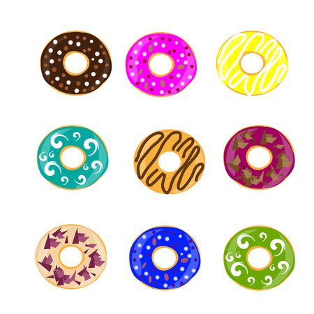 cocking: Collection of glazed colored donuts. Set of donuts. Vector illustration