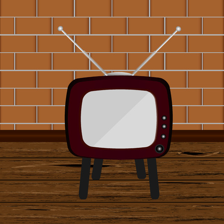 the outmoded: Retro TV in the wooden case, vector illustration