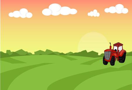 Farm flat landscape with tractor. Organic food concept for any design. Farm landscape concept. Farm landscape illustration. Farm landscape background. Farm background. Farmland concept.