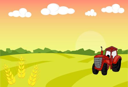 sheaf: Farm tractor with sheaf. Harvest. Farm landscape illustration. Field wheat background. Farm sunrise background. Vector illustration