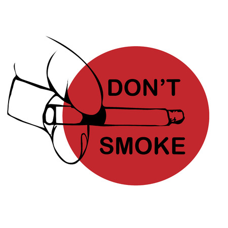 smoldering cigarette: No smoking sign on white background. Hand draw illustration hand with cigarette . Vector illustration Illustration