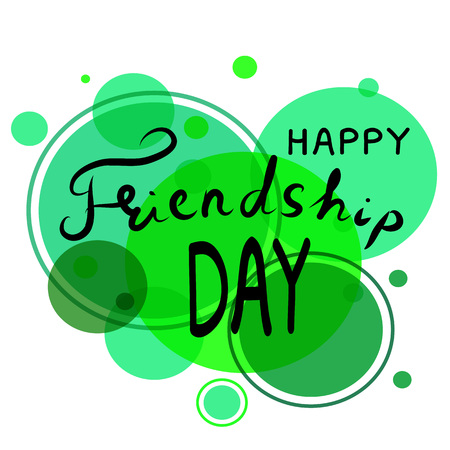 friends having fun: Happy friendship day hand draw lettering. Quote happy friendship day on create background. Vector illustration