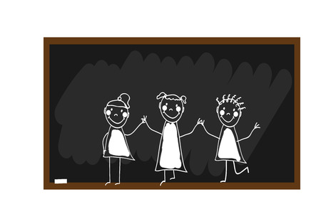 Children group of kids hand drawn. The children painted chalk on a blackboard. Happy and fun children. Doodle, hand drawn sketch, scribble. Vector illustration Çizim