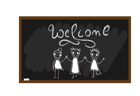 Children group of kids hand drawn. Welcom lettering. The children painted chalk on a blackboard. Happy and fun children. Doodle, hand drawn sketch, scribble. Vector illustration Çizim