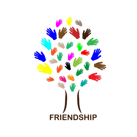 knickknack: Happy friendship day illustration. Different color hands. Abstract tree of human hands. Vector illustartion