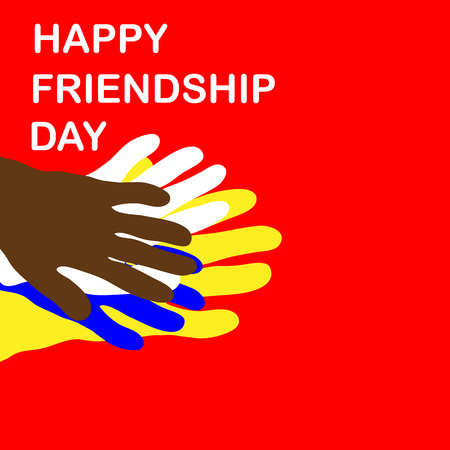 oneness: Happy friendship day illustration. Different color hands on red background. Vector illustartion Illustration