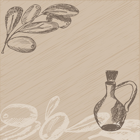 oil crops: Hand drawn olive branch with glass bottle. Sketch style background. Vector illustration.
