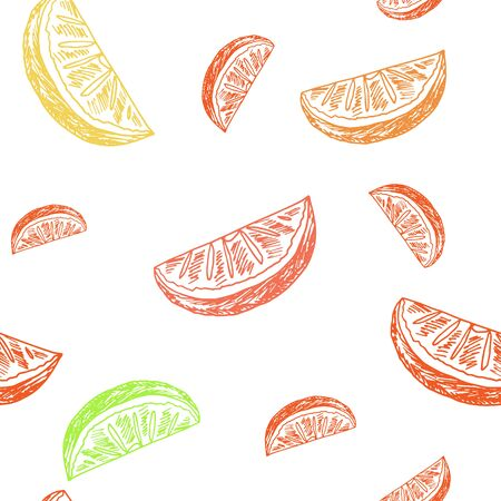 colorful straw: Sketch style background. Hand drawn lemonade seamless pattern on white background. Vector illustration.