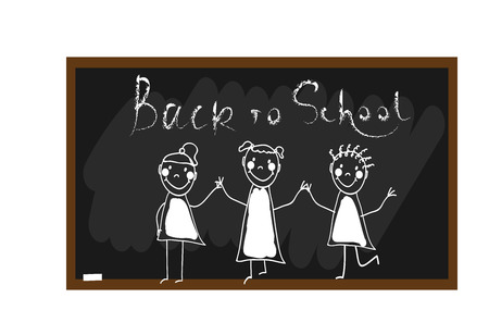 The children draw chalk on a blackboard with Back to school lettering. Happy and fun children. Hand draw. Doodle, hand drawn sketch, scribble. Vector illustration