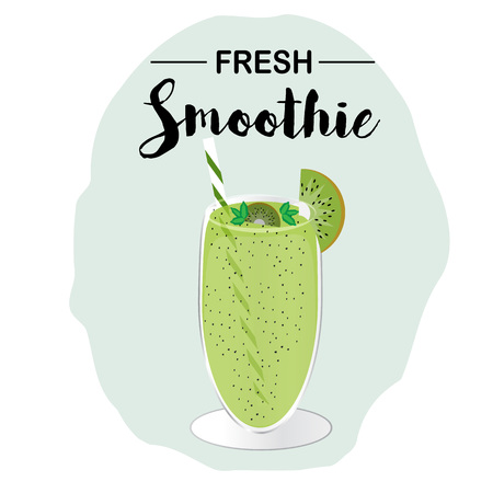 Fresh Kiwi Smoothie In Glass With Drinking Straw. Vector illustration