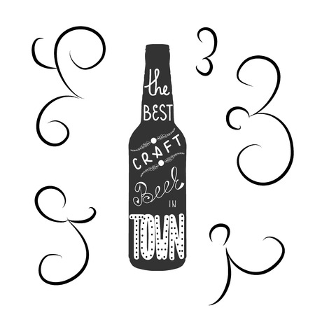 beer festival: Bottle of beer with quote the best craft beer in town hand draw lettering. Great for pub menu, announcement of the beer festival or brewery poster. Vector illustration