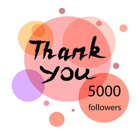 gratitude: Thank you hand draw. Thank you followers. Thank you handwritten vector illustration, pen lettering isolated. Web design for site, network, social networks. Vector illustration